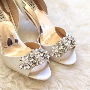 Badgley Mischka Jeweled Giana Satin d'Orsay Pumps